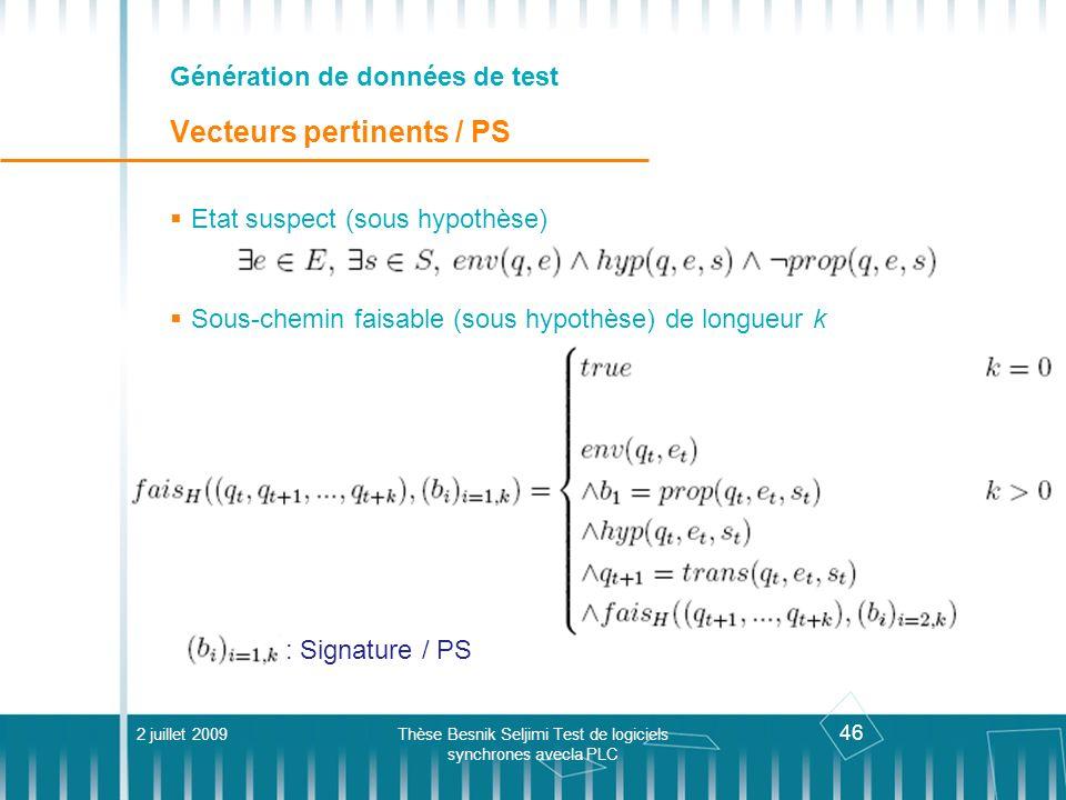 Génération de données de test Vecteurs pertinents / PS