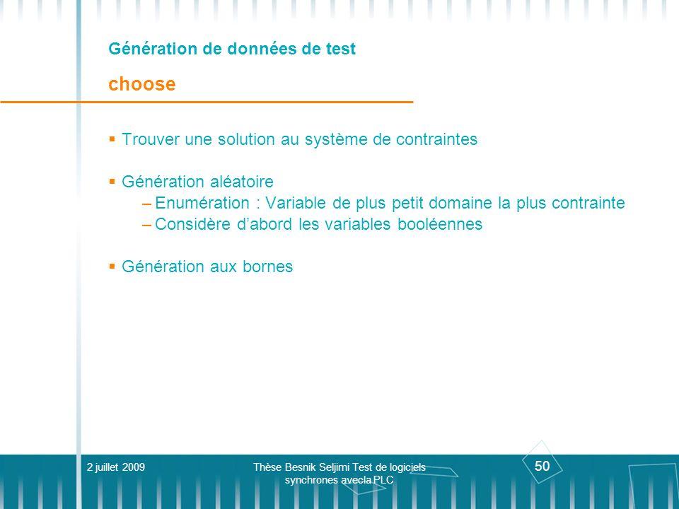 Génération de données de test choose