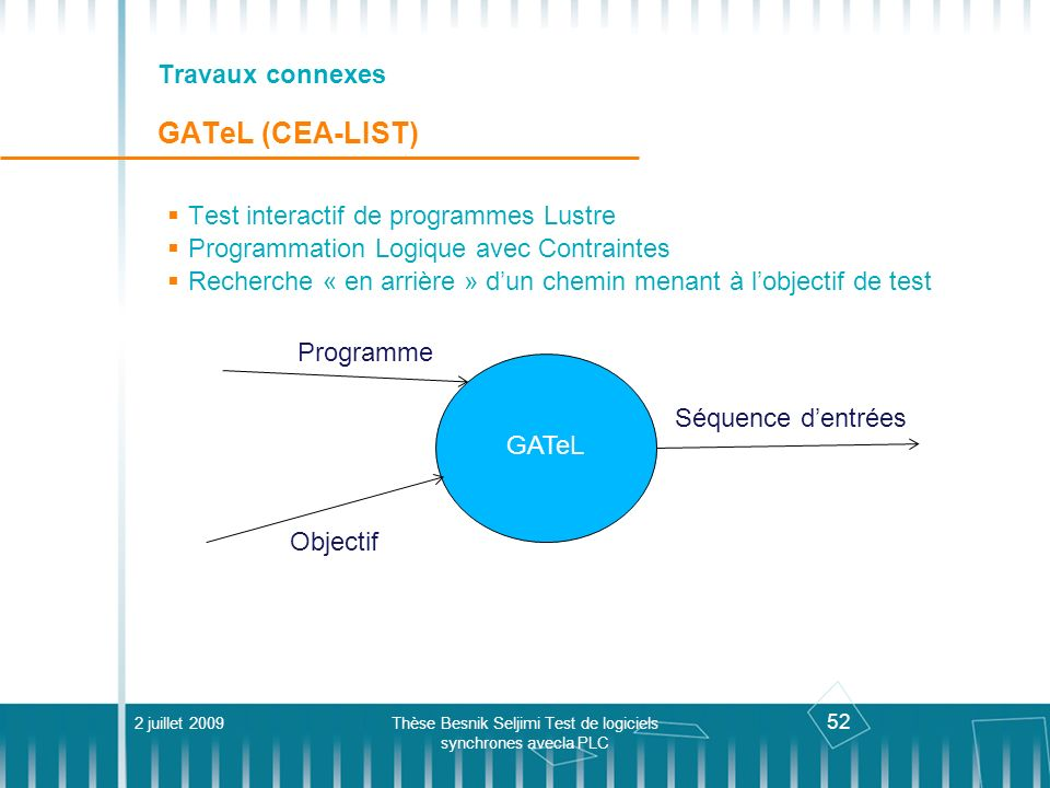 Travaux connexes GATeL (CEA-LIST)