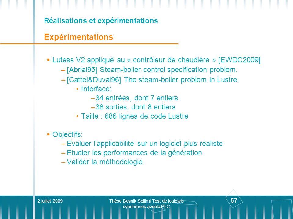 Réalisations et expérimentations Expérimentations