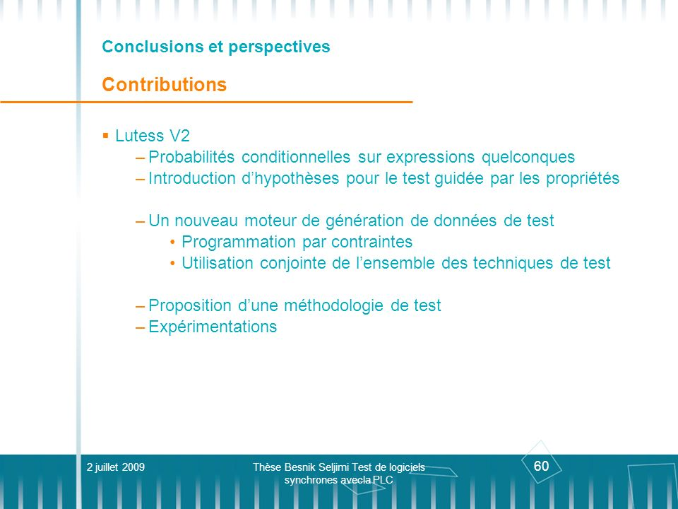 Conclusions et perspectives Contributions