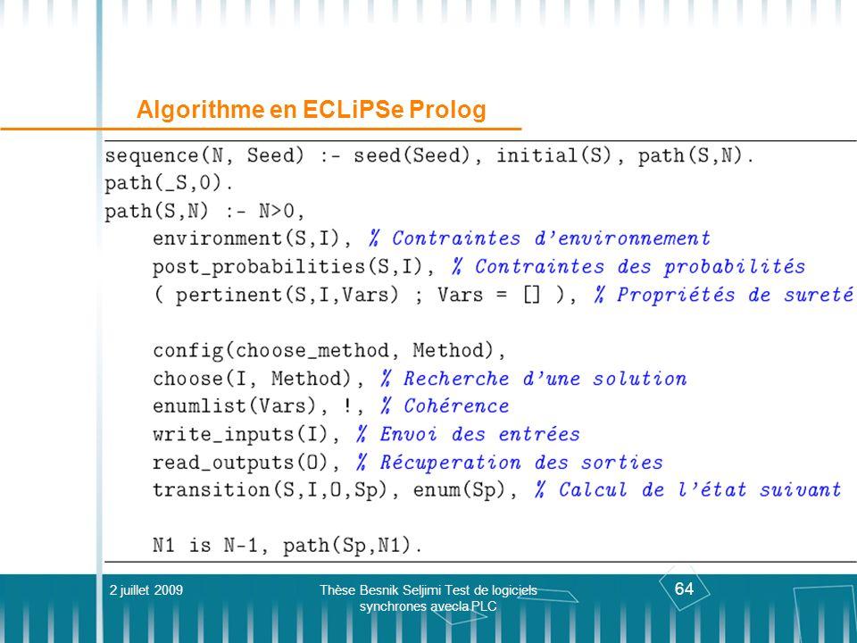Algorithme en ECLiPSe Prolog