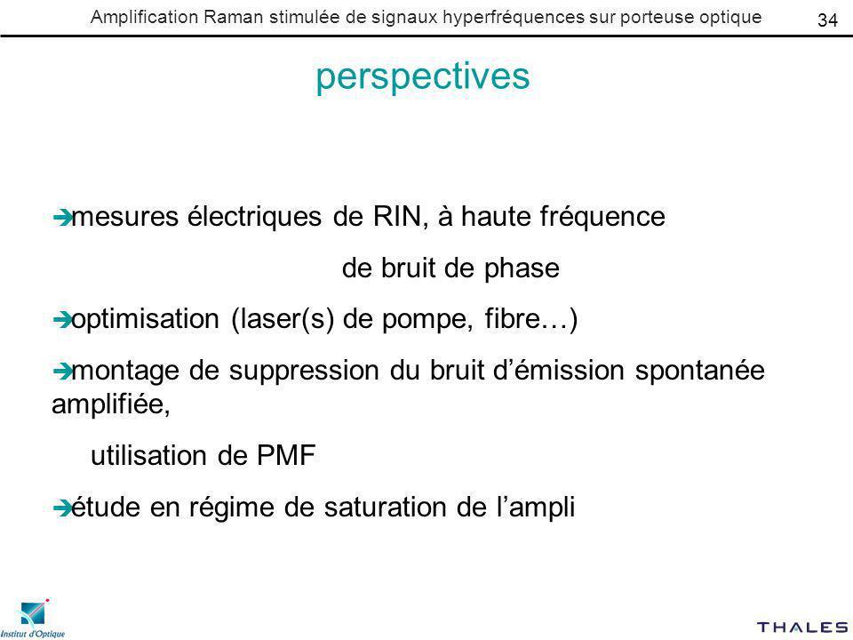 perspectives mesures électriques de RIN, à haute fréquence