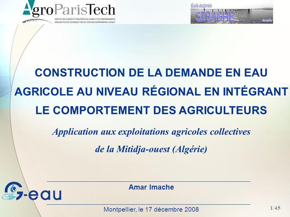 CONSTRUCTION DE LA DEMANDE EN EAU AGRICOLE AU NIVEAU RÉGIONAL EN INTÉGRANT LE COMPORTEMENT DES AGRICULTEURS
