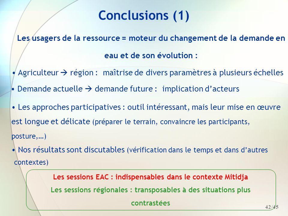 Conclusions (1) Les usagers de la ressource = moteur du changement de la demande en eau et de son évolution :