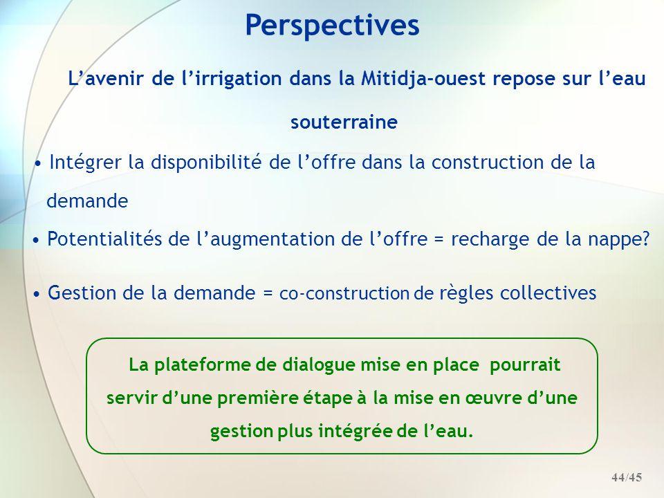 Perspectives L'avenir de l'irrigation dans la Mitidja-ouest repose sur l'eau souterraine.