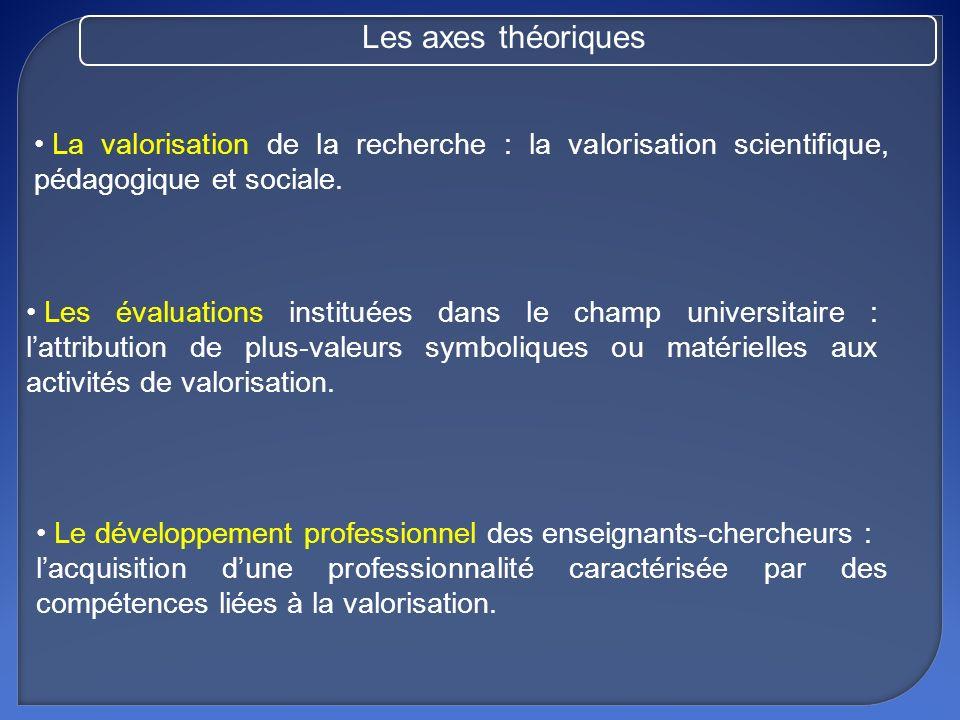 Les axes théoriques La valorisation de la recherche : la valorisation scientifique, pédagogique et sociale.