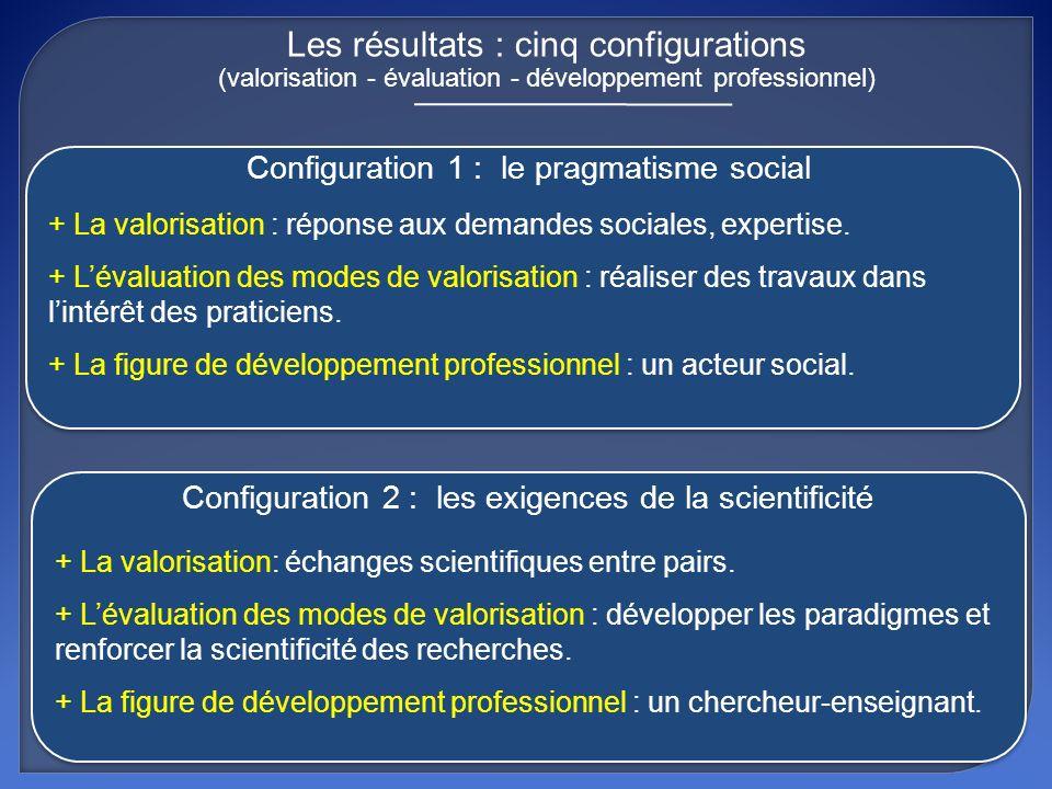 Les résultats : cinq configurations (valorisation - évaluation - développement professionnel)