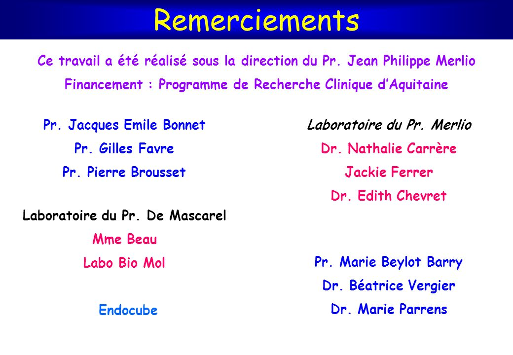 Remerciements Ce travail a été réalisé sous la direction du Pr. Jean Philippe Merlio. Financement : Programme de Recherche Clinique d'Aquitaine.