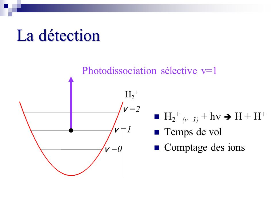 La détection Photodissociation sélective v=1 H2+ (v=1) + hn  H + H+