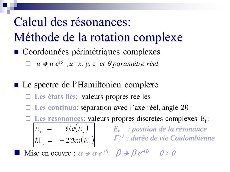 Calcul des résonances: Méthode de la rotation complexe