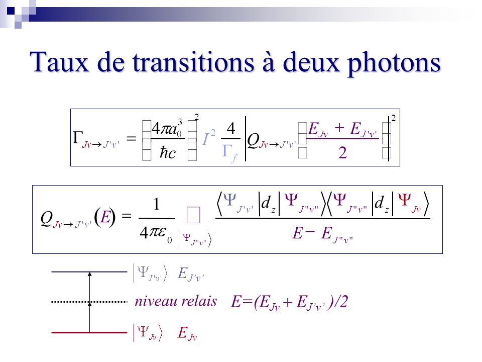 Taux de transitions à deux photons