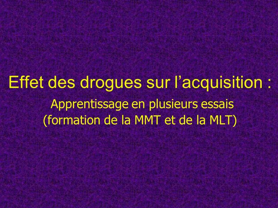Effet des drogues sur l'acquisition : Apprentissage en plusieurs essais (formation de la MMT et de la MLT)