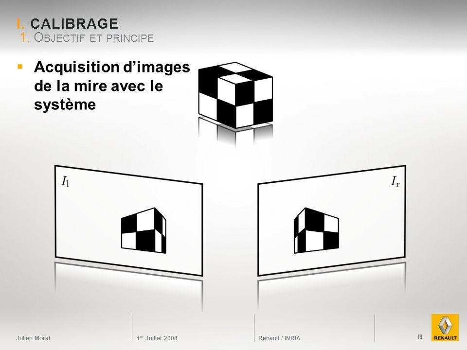 Acquisition d'images de la mire avec le système