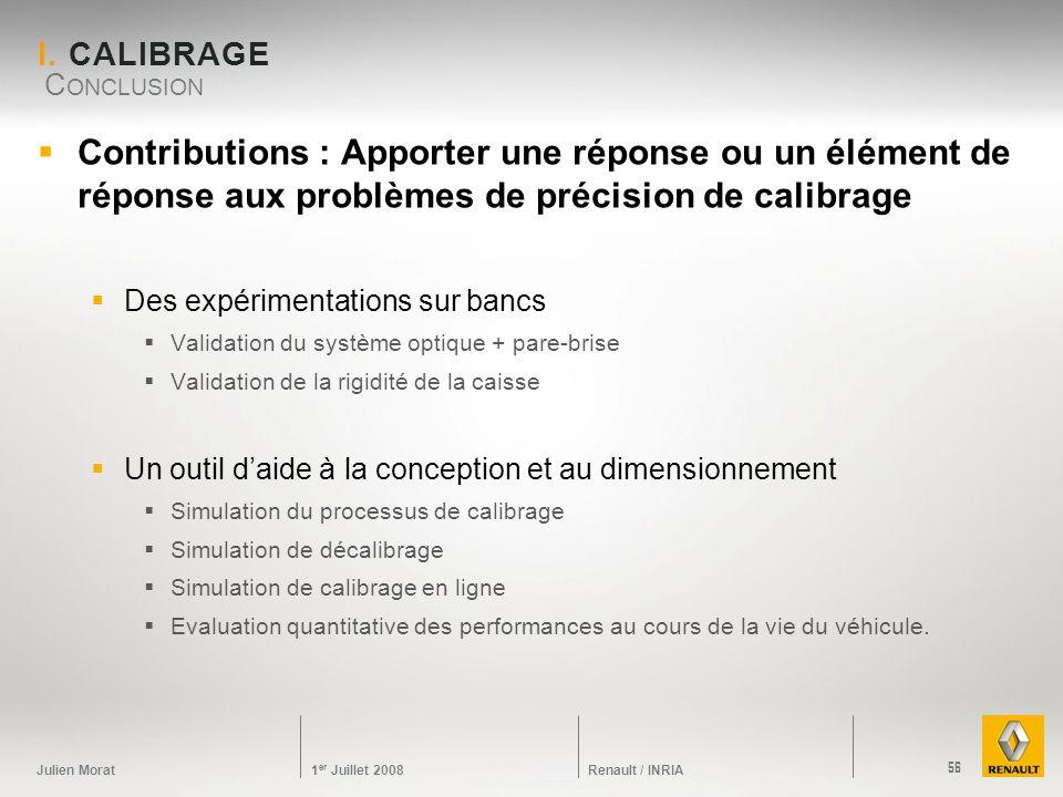 I. Calibrage Conclusion. Contributions : Apporter une réponse ou un élément de réponse aux problèmes de précision de calibrage.