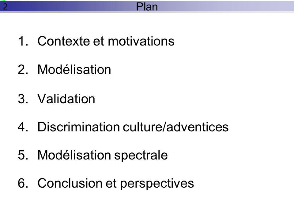 Contexte et motivations Modélisation Validation