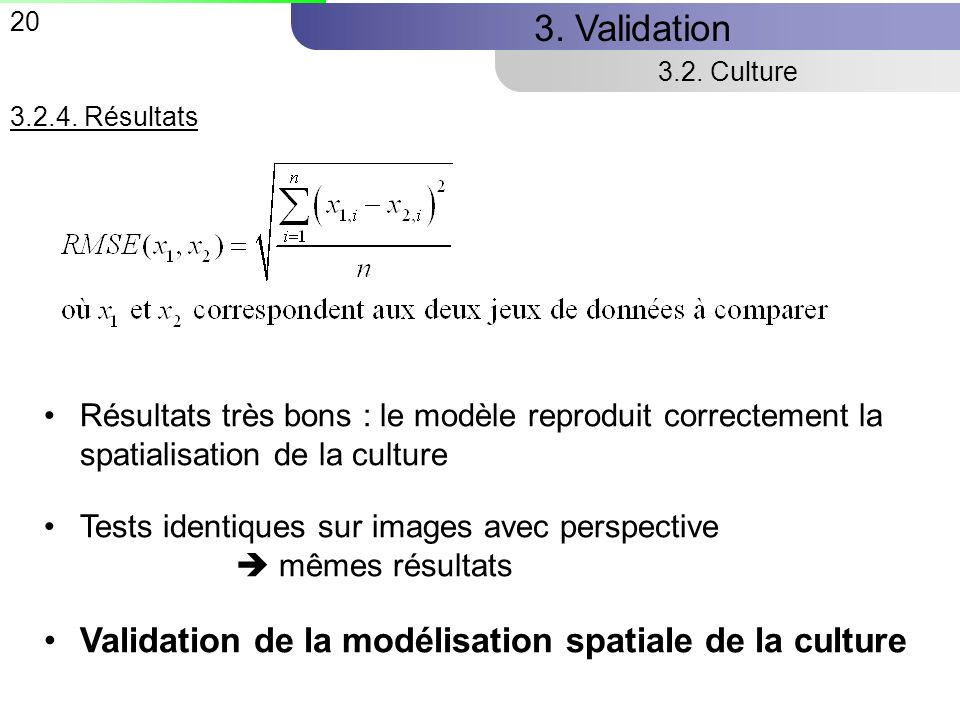 3. Validation Validation de la modélisation spatiale de la culture