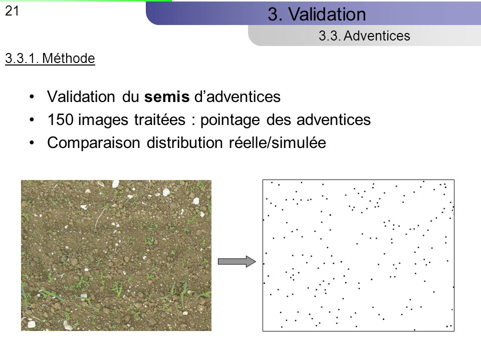3. Validation Validation du semis d'adventices