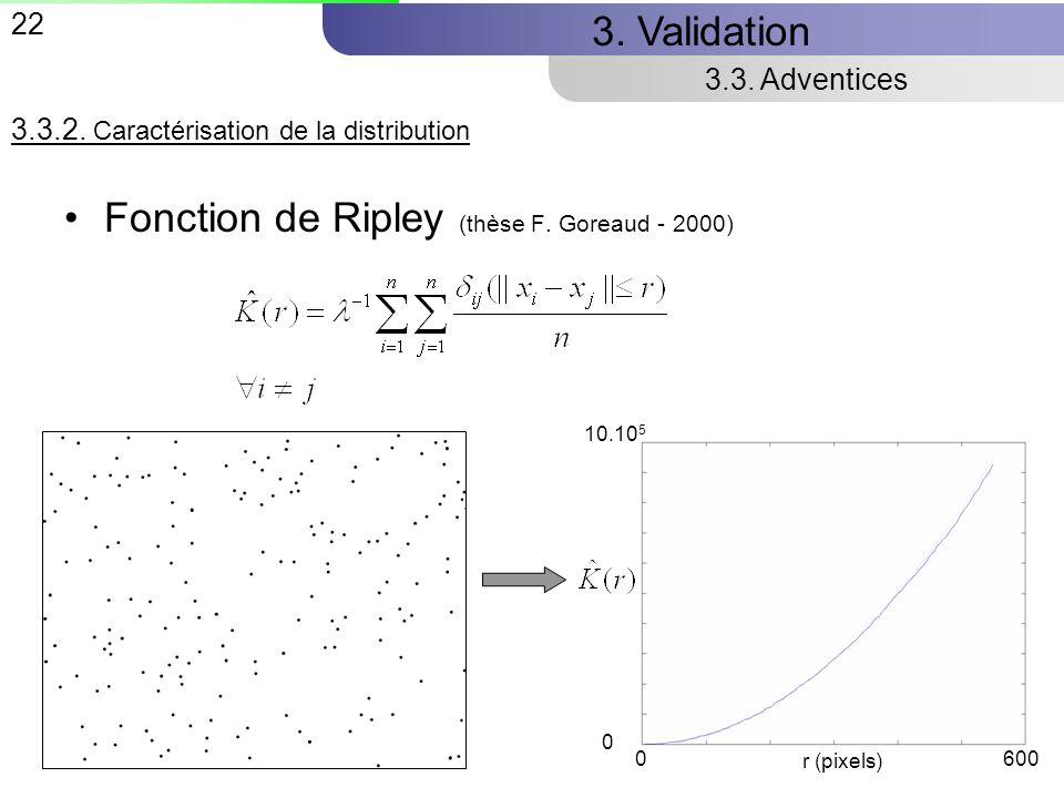 Fonction de Ripley (thèse F. Goreaud - 2000)