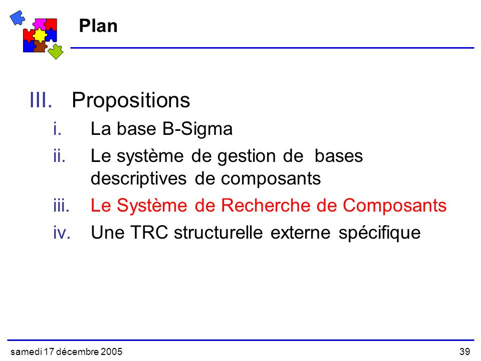 Propositions Plan La base B-Sigma