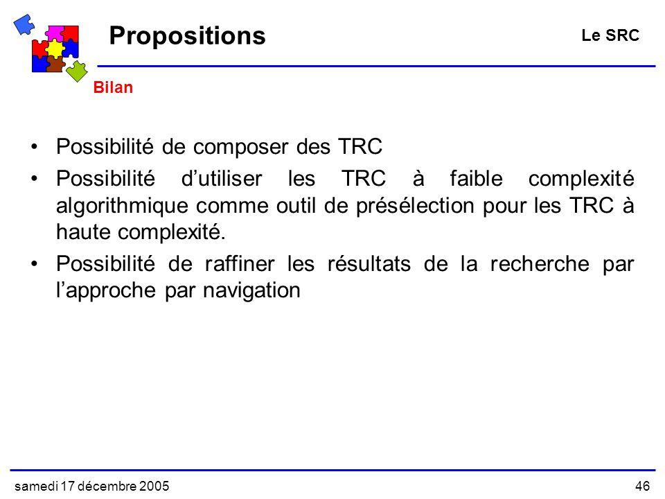 Propositions Possibilité de composer des TRC