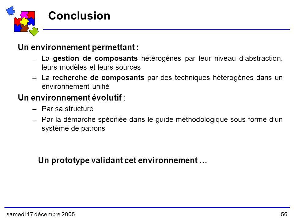 Conclusion Un environnement permettant : Un environnement évolutif :