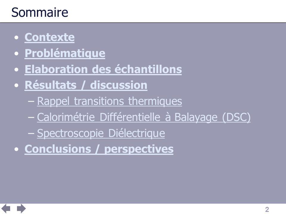 Sommaire Contexte Problématique Elaboration des échantillons