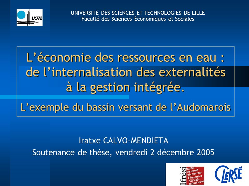 Iratxe CALVO-MENDIETA Soutenance de thèse, vendredi 2 décembre 2005