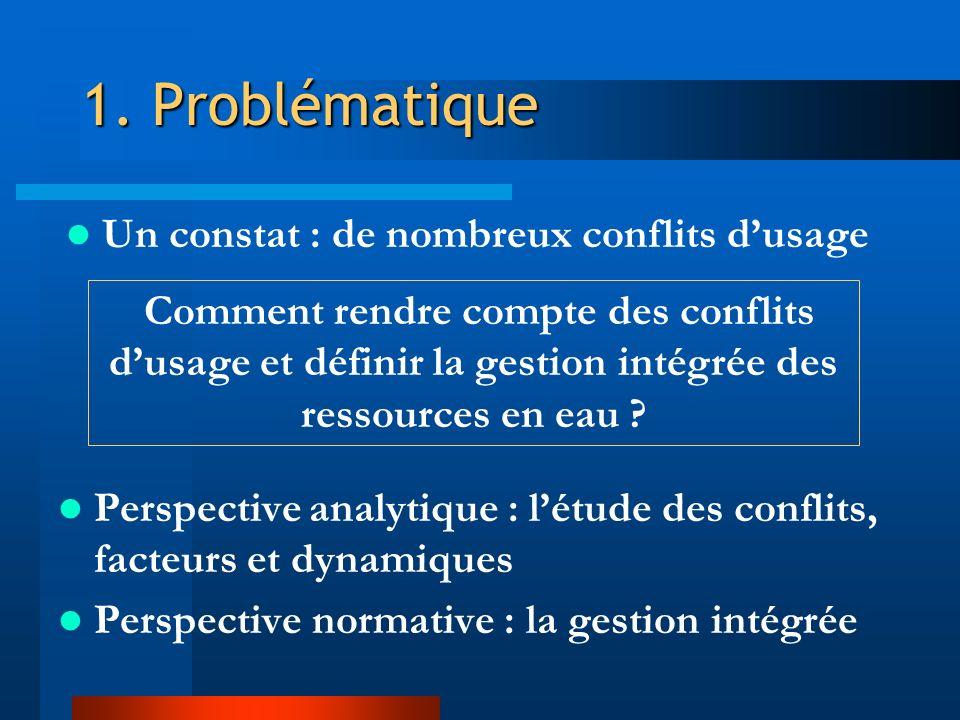 1. Problématique Un constat : de nombreux conflits d'usage
