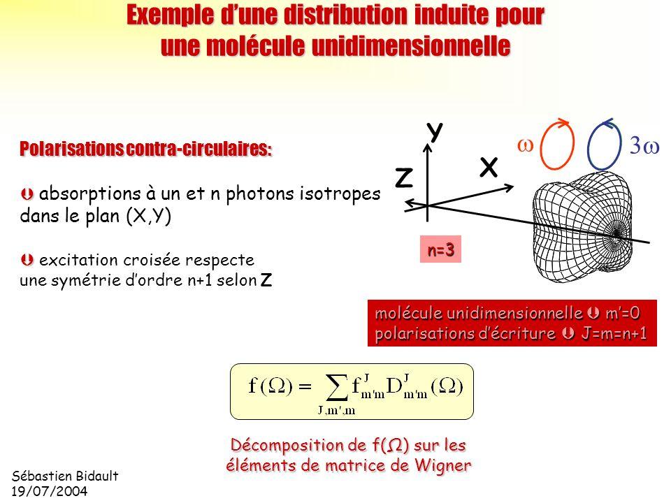 Exemple d'une distribution induite pour une molécule unidimensionnelle