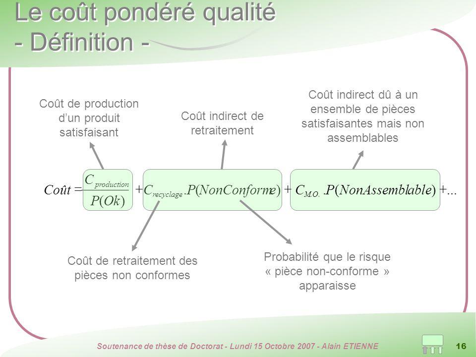 Le coût pondéré qualité - Définition -