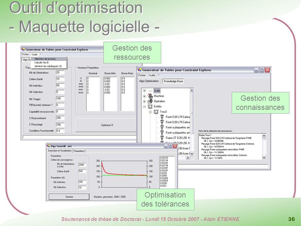 Outil d'optimisation - Maquette logicielle -