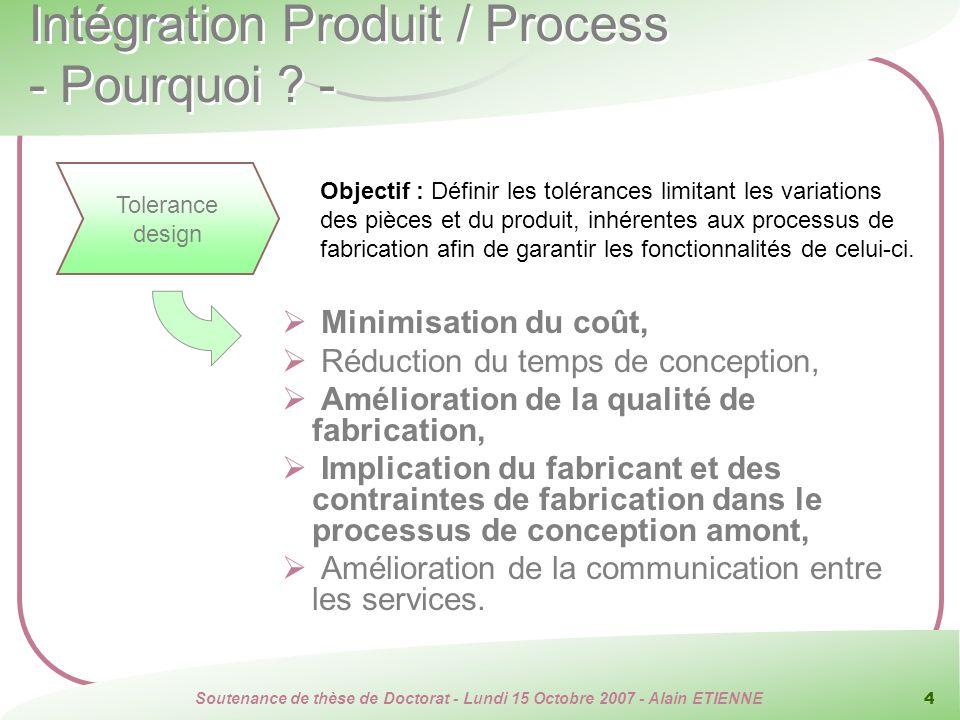 Intégration Produit / Process - Pourquoi -