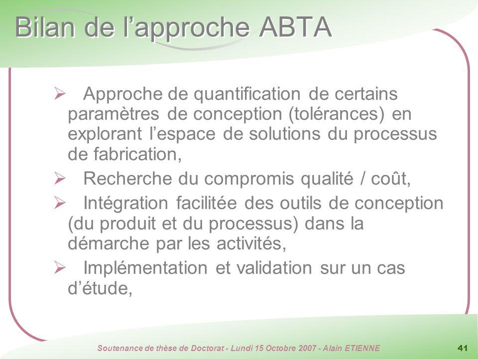 Bilan de l'approche ABTA
