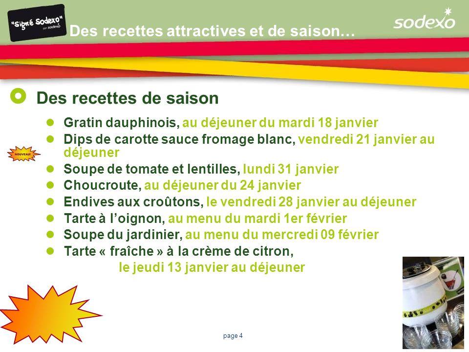 Des recettes attractives et de saison…