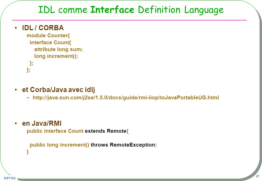 IDL comme Interface Definition Language