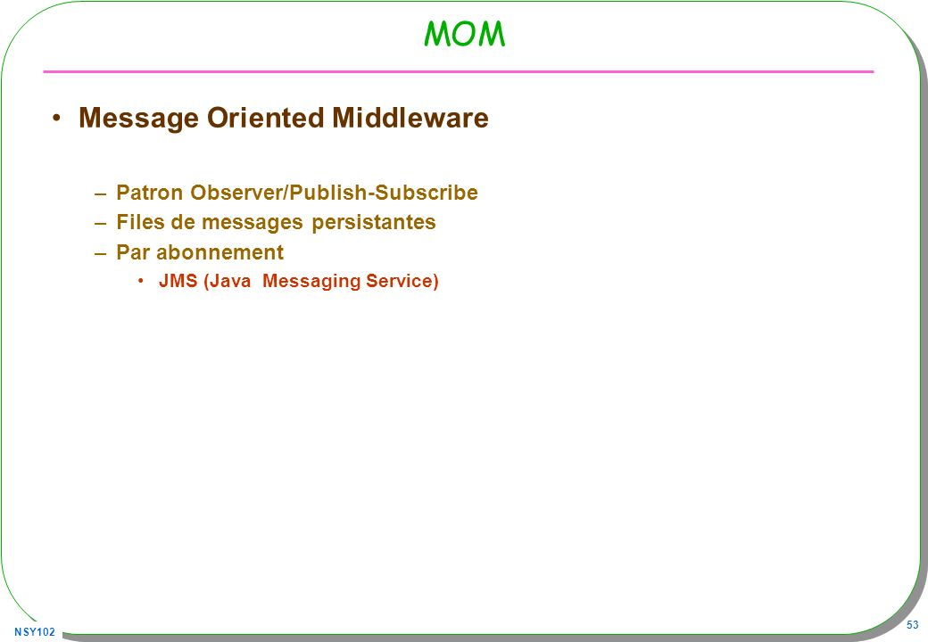 MOM Message Oriented Middleware Patron Observer/Publish-Subscribe