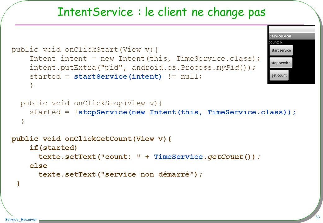 IntentService : le client ne change pas