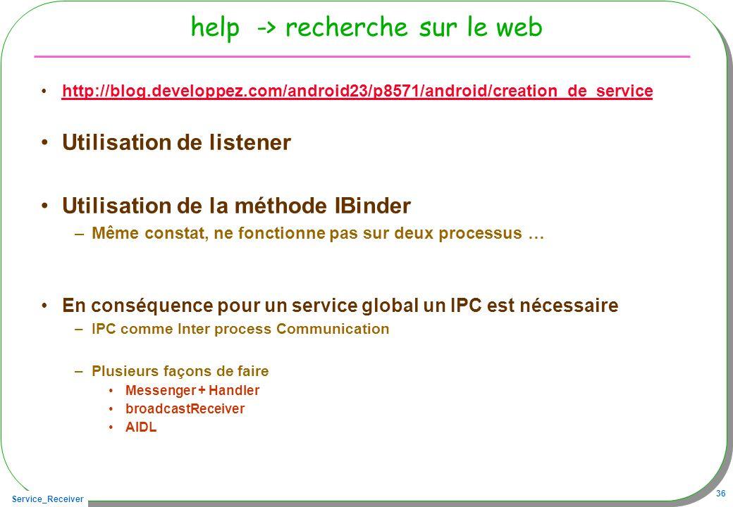 help -> recherche sur le web
