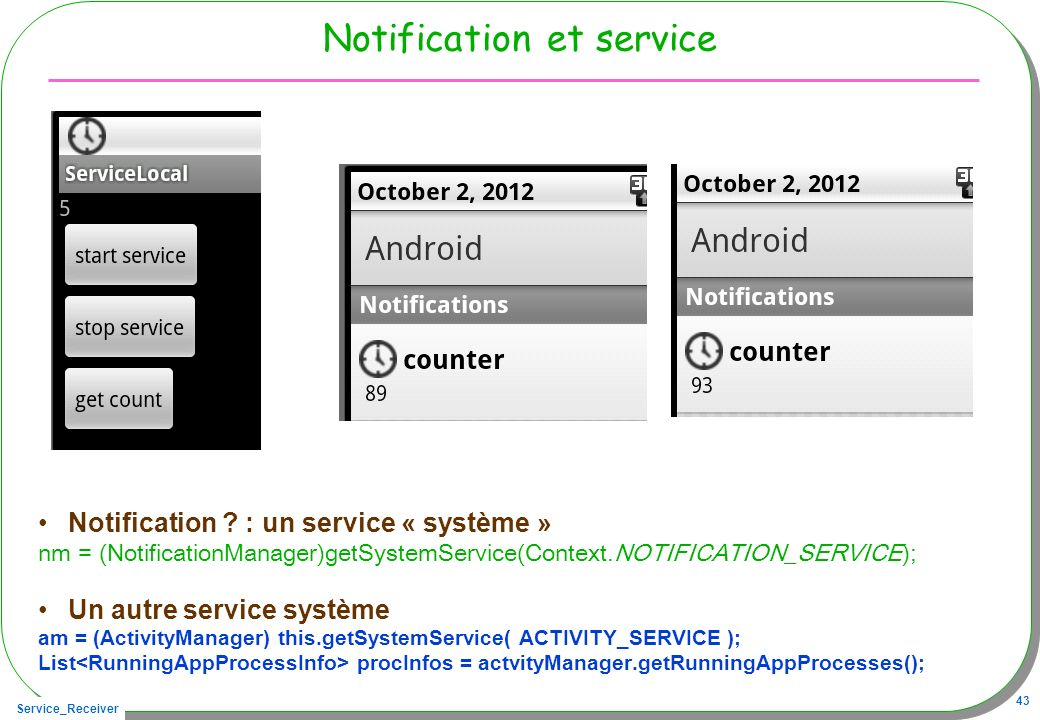 Notification et service