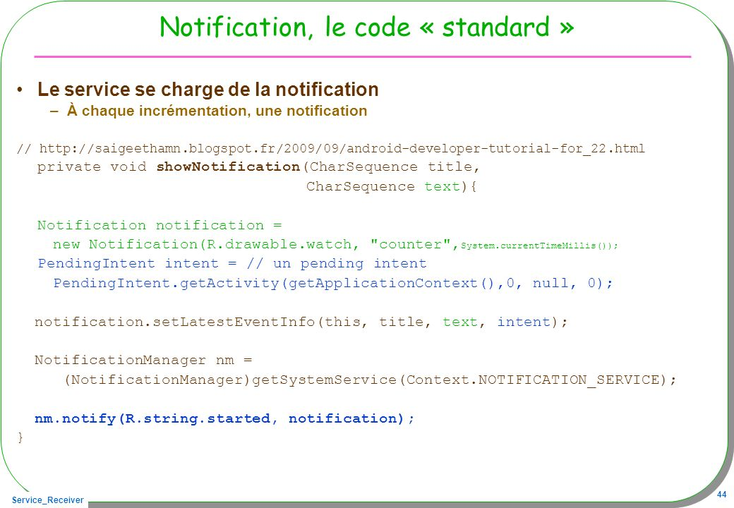 Notification, le code « standard »