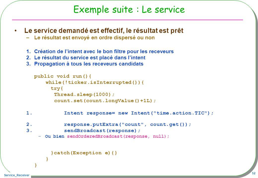 Exemple suite : Le service