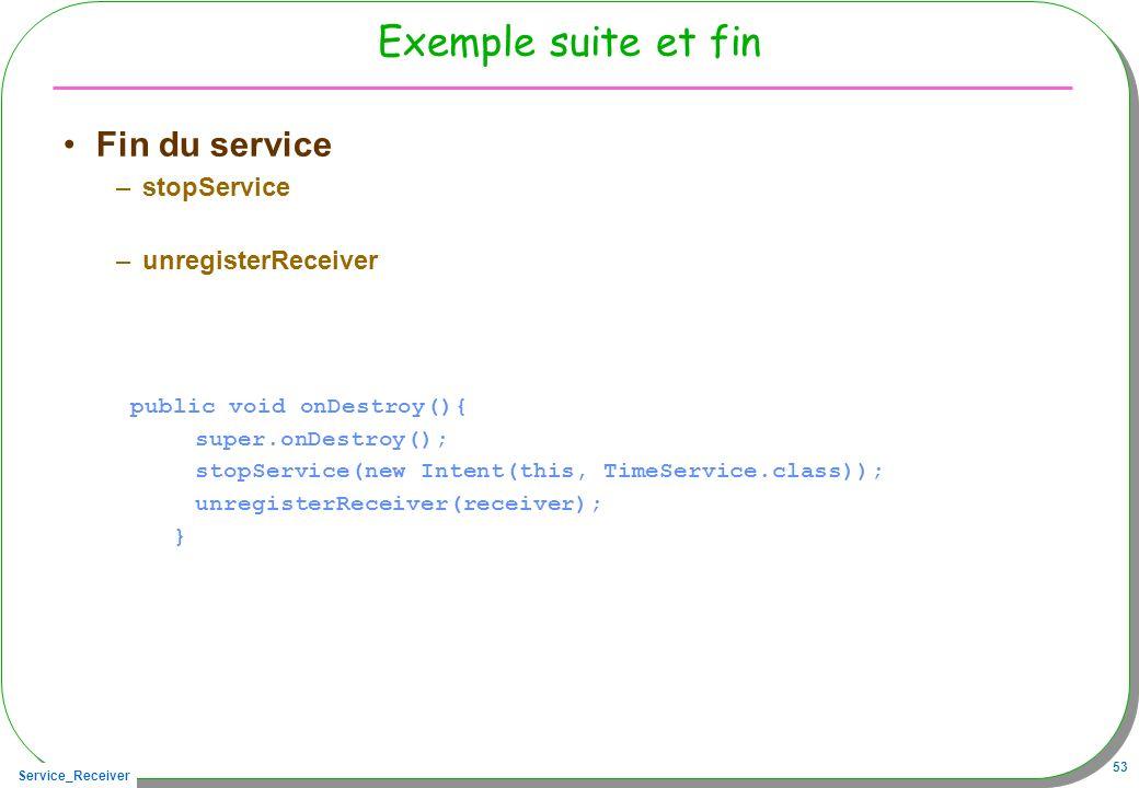 Exemple suite et fin Fin du service stopService unregisterReceiver