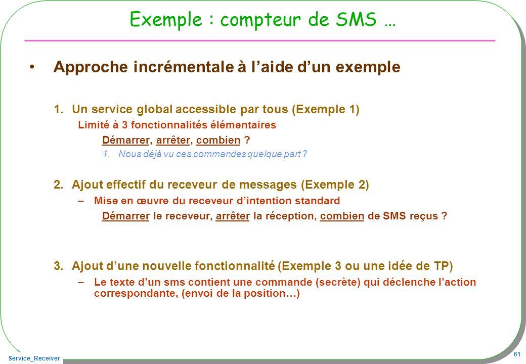 Exemple : compteur de SMS …