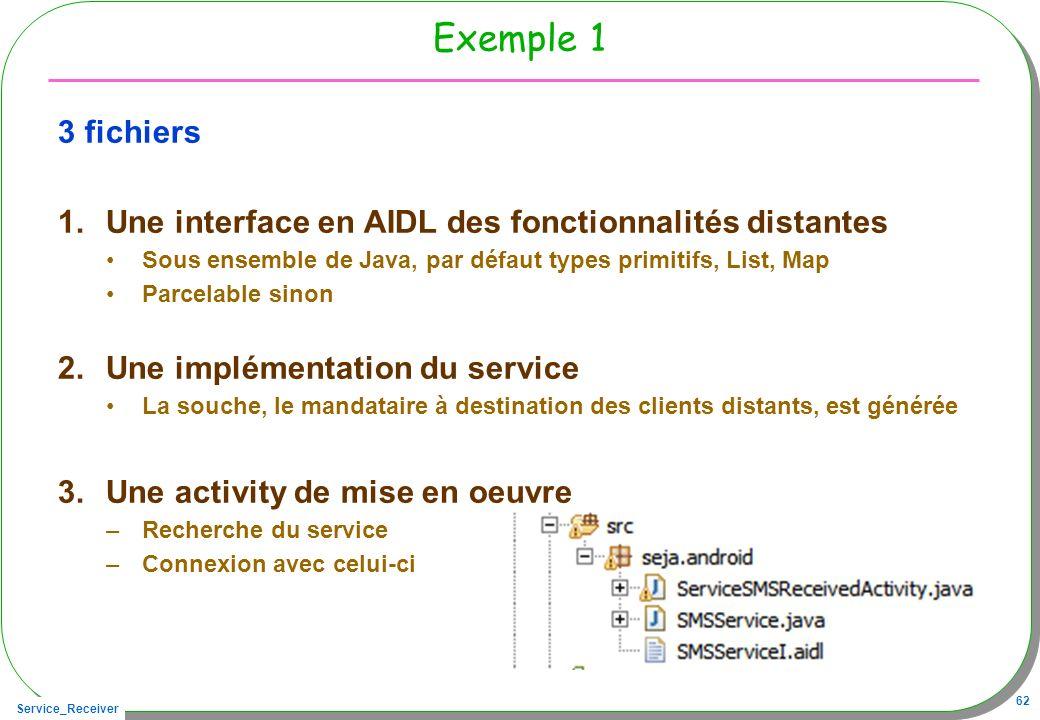 Exemple 1 3 fichiers. Une interface en AIDL des fonctionnalités distantes. Sous ensemble de Java, par défaut types primitifs, List, Map.