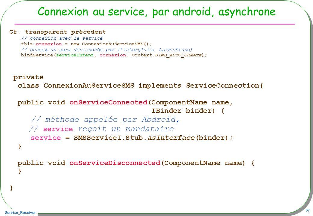 Connexion au service, par android, asynchrone