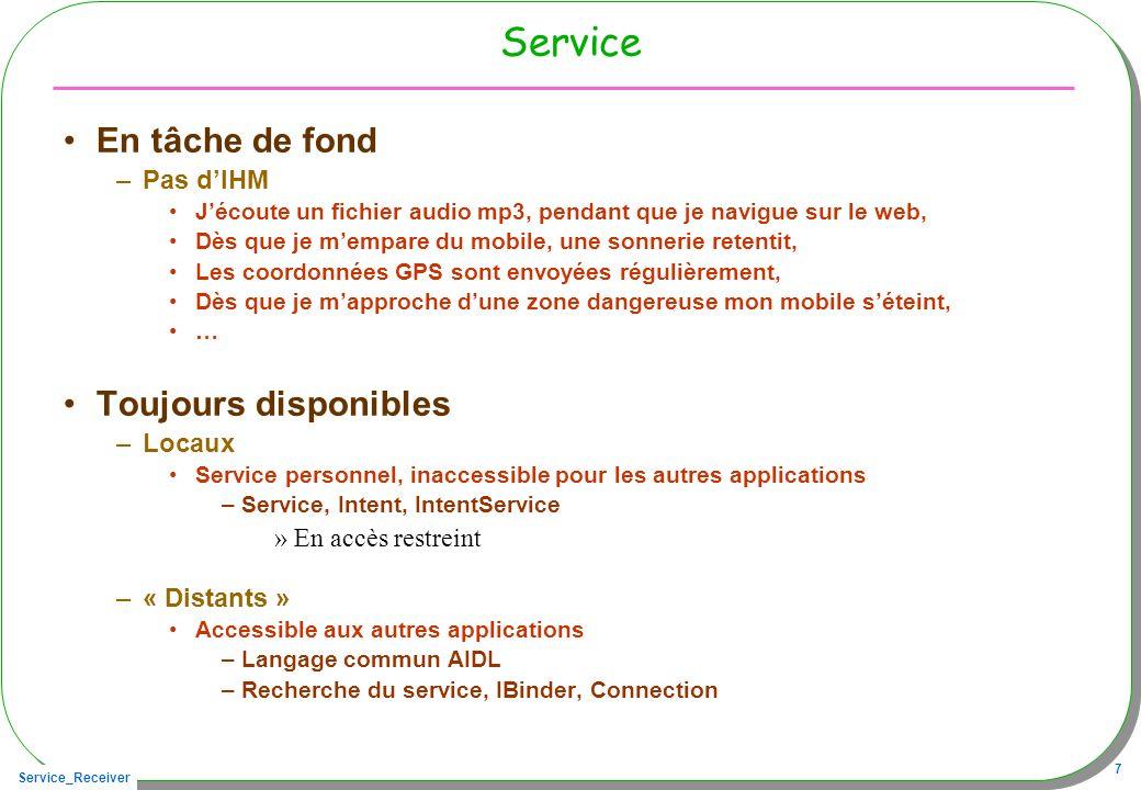 Service En tâche de fond Toujours disponibles Pas d'IHM Locaux