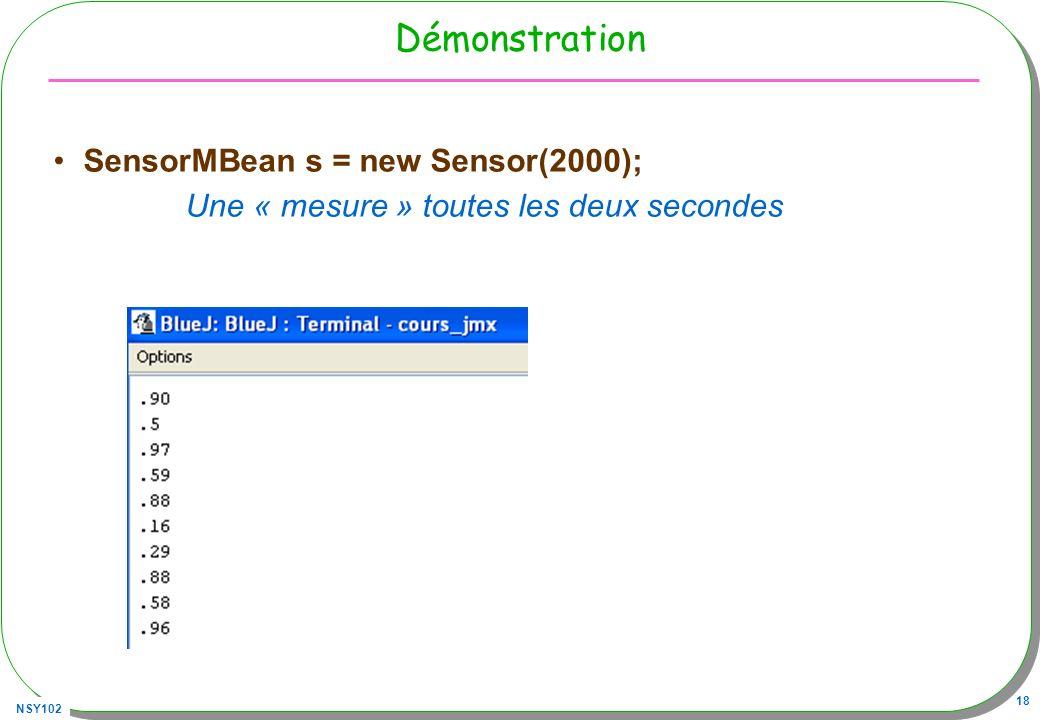 Démonstration SensorMBean s = new Sensor(2000);