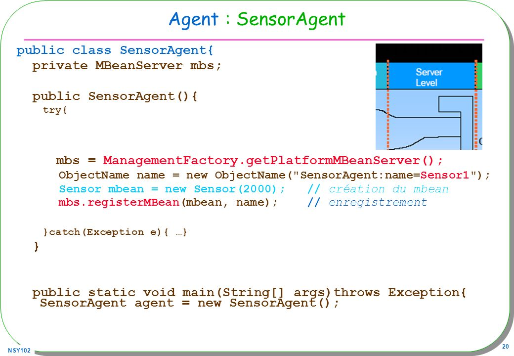Agent : SensorAgent public class SensorAgent{ private MBeanServer mbs;