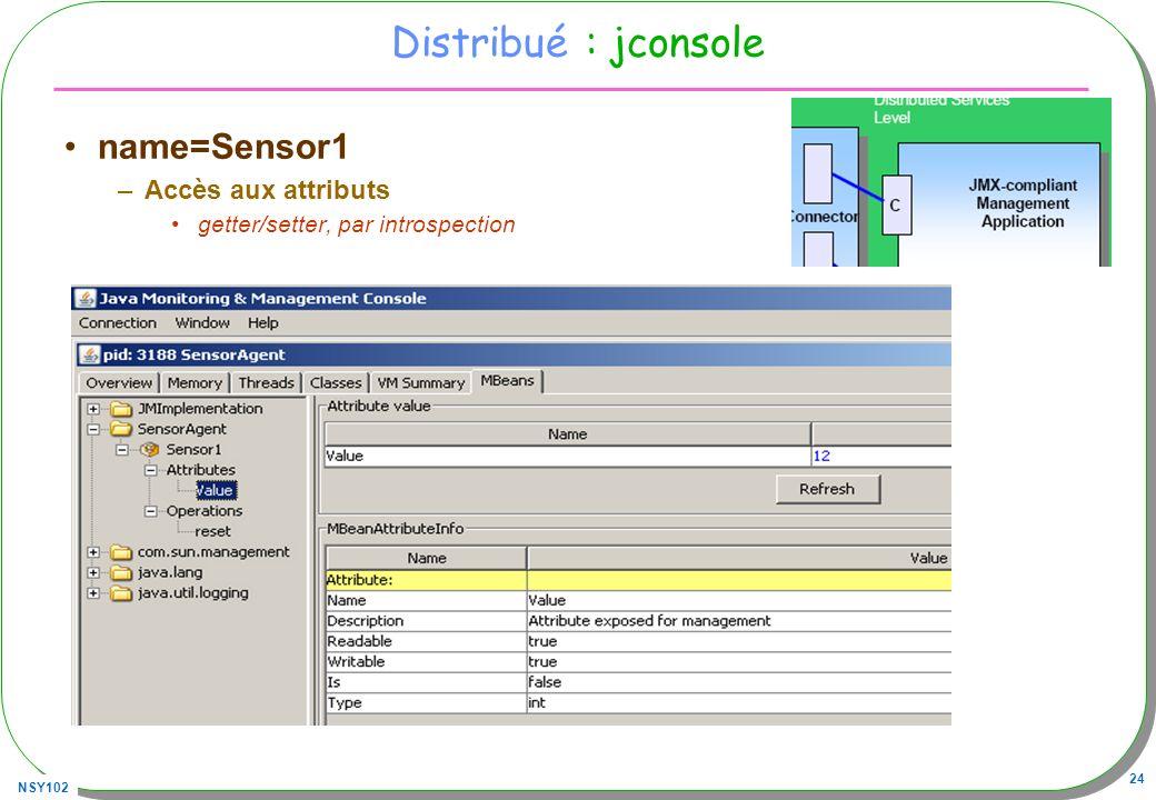 Distribué : jconsole name=Sensor1 Accès aux attributs